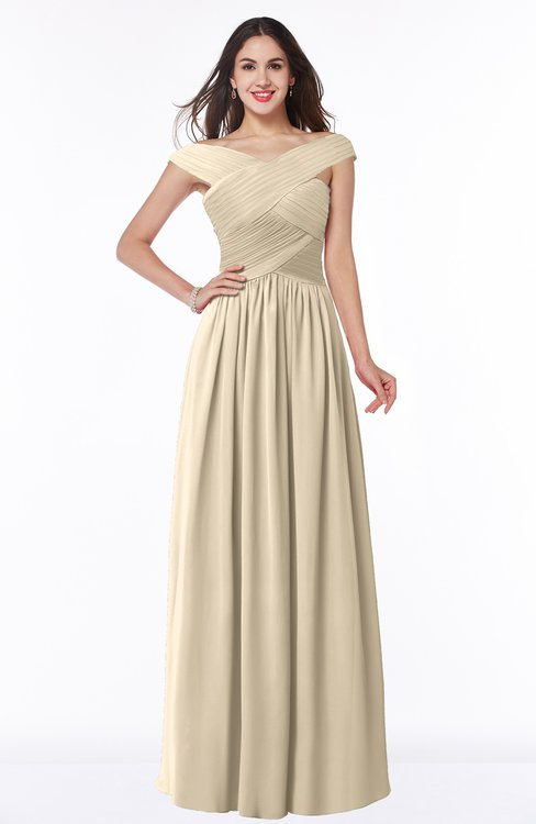 ColsBM Wendy Novelle Peach Classic A-line Off-the-Shoulder Sleeveless Zip up Floor Length Plus Size Bridesmaid Dresses
