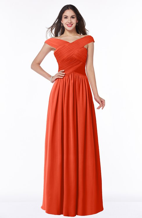 ColsBM Wendy Persimmon Classic A-line Off-the-Shoulder Sleeveless Zip up Floor Length Plus Size Bridesmaid Dresses