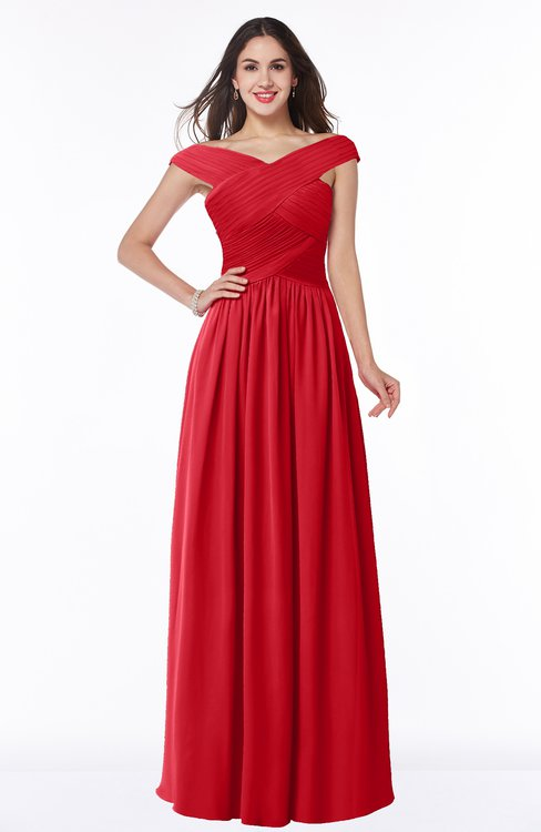 ColsBM Wendy Red Classic A-line Off-the-Shoulder Sleeveless Zip up Floor Length Plus Size Bridesmaid Dresses