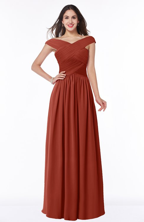 ColsBM Wendy Rust Classic A-line Off-the-Shoulder Sleeveless Zip up Floor Length Plus Size Bridesmaid Dresses