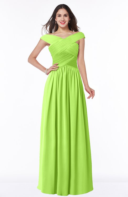 ColsBM Wendy Sharp Green Classic A-line Off-the-Shoulder Sleeveless Zip up Floor Length Plus Size Bridesmaid Dresses
