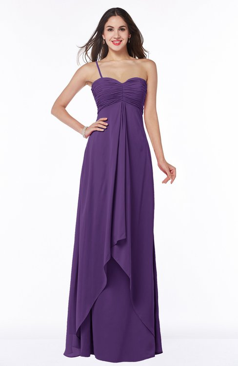 ColsBM Azalea Dark Purple Sexy A-line Spaghetti Zipper Pleated Plus Size Bridesmaid Dresses
