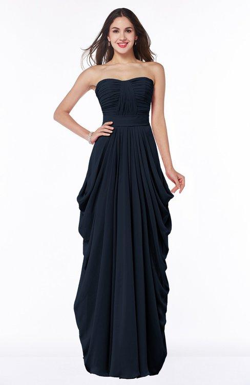ColsBM Wren Navy Blue Informal Sleeveless Half Backless Chiffon Floor Length Plus Size Bridesmaid Dresses