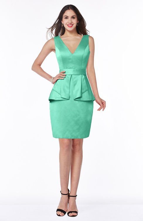 57cc13111949 ColsBM Desiree Mint Green Classic Column V-neck Sleeveless Half Backless  Sash Wedding Guest Dresses