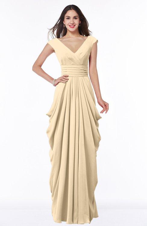 ColsBM Alice Apricot Gelato Mature V-neck Short Sleeve Chiffon Floor Length Plus Size Bridesmaid Dresses
