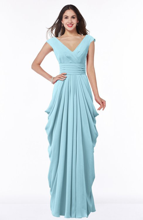 ColsBM Alice Aqua Mature V-neck Short Sleeve Chiffon Floor Length Plus Size Bridesmaid Dresses