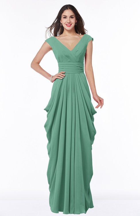 ColsBM Alice Beryl Green Mature V-neck Short Sleeve Chiffon Floor Length Plus Size Bridesmaid Dresses