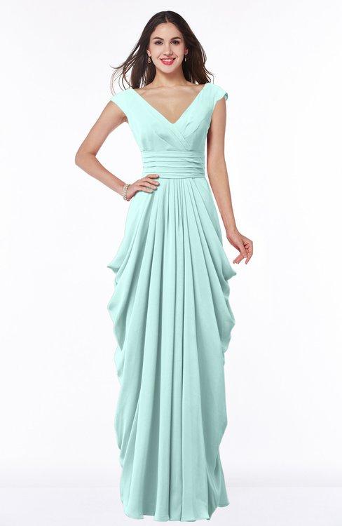 ColsBM Alice Blue Glass Mature V-neck Short Sleeve Chiffon Floor Length Plus Size Bridesmaid Dresses