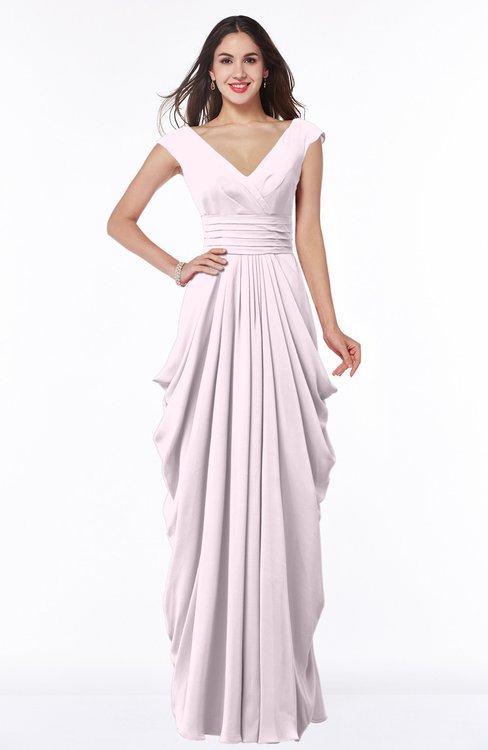 ColsBM Alice Blush Mature V-neck Short Sleeve Chiffon Floor Length Plus Size Bridesmaid Dresses