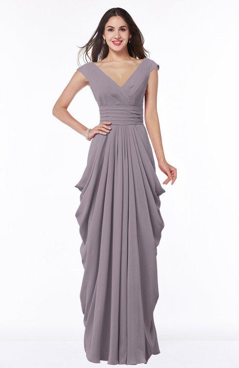 ColsBM Alice Cameo Mature V-neck Short Sleeve Chiffon Floor Length Plus Size Bridesmaid Dresses