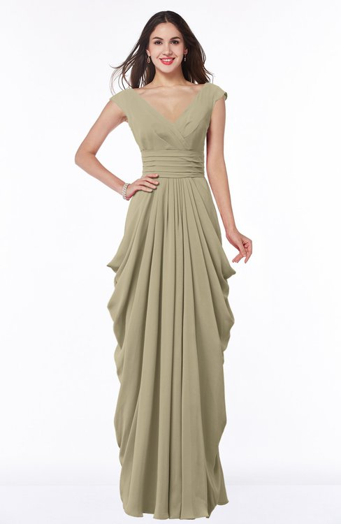 ColsBM Alice Candied Ginger Mature V-neck Short Sleeve Chiffon Floor Length Plus Size Bridesmaid Dresses