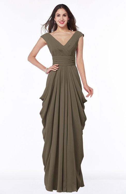 ColsBM Alice Carafe Brown Mature V-neck Short Sleeve Chiffon Floor Length Plus Size Bridesmaid Dresses