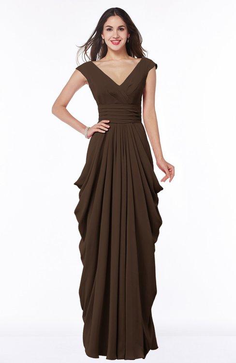 ColsBM Alice Copper Mature V-neck Short Sleeve Chiffon Floor Length Plus Size Bridesmaid Dresses