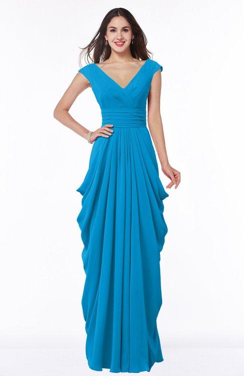 ColsBM Alice Cornflower Blue Mature V-neck Short Sleeve Chiffon Floor Length Plus Size Bridesmaid Dresses