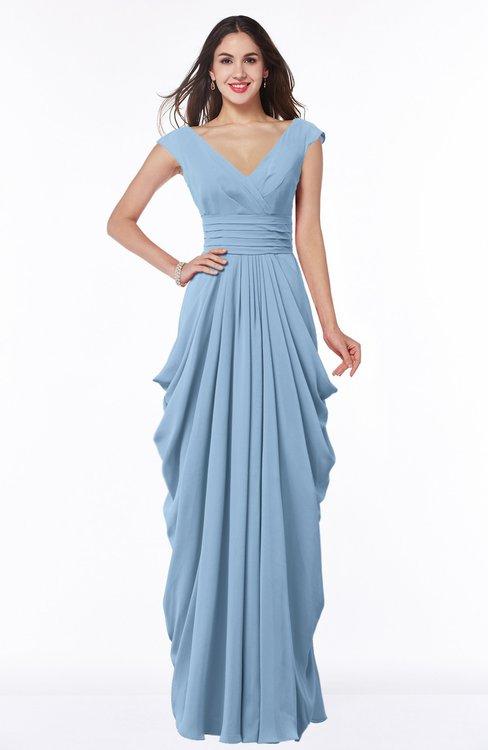 ColsBM Alice Dusty Blue Mature V-neck Short Sleeve Chiffon Floor Length Plus Size Bridesmaid Dresses