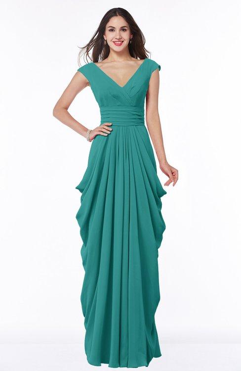 ColsBM Alice Emerald Green Mature V-neck Short Sleeve Chiffon Floor Length Plus Size Bridesmaid Dresses