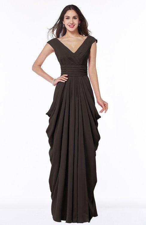 ColsBM Alice Fudge Brown Mature V-neck Short Sleeve Chiffon Floor Length Plus Size Bridesmaid Dresses