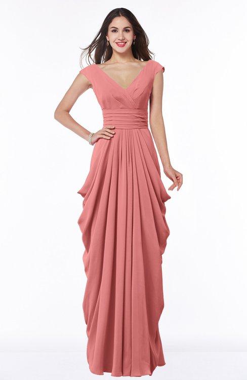 ColsBM Alice Lantana Mature V-neck Short Sleeve Chiffon Floor Length Plus Size Bridesmaid Dresses