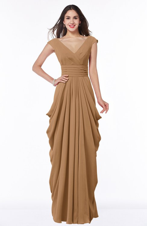 ColsBM Alice Light Brown Mature V-neck Short Sleeve Chiffon Floor Length Plus Size Bridesmaid Dresses