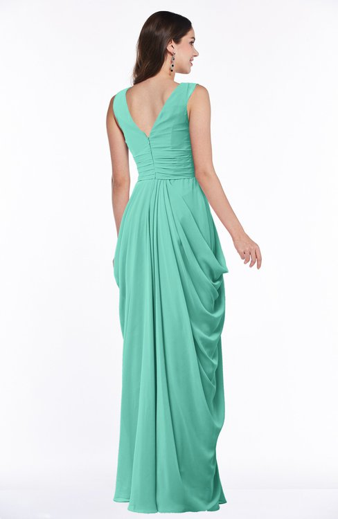 12e9272cc64 ... ColsBM Alice Mint Green Mature V-neck Short Sleeve Chiffon Floor Length  Plus Size Bridesmaid