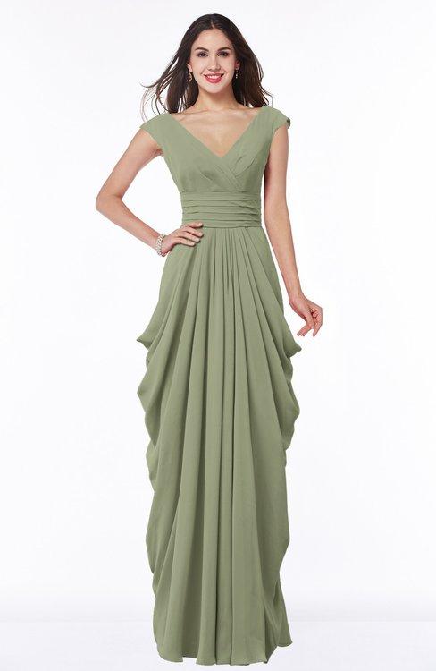 ColsBM Alice Moss Green Mature V-neck Short Sleeve Chiffon Floor Length Plus Size Bridesmaid Dresses
