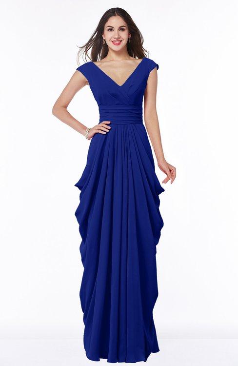 ColsBM Alice Nautical Blue Mature V-neck Short Sleeve Chiffon Floor Length Plus Size Bridesmaid Dresses