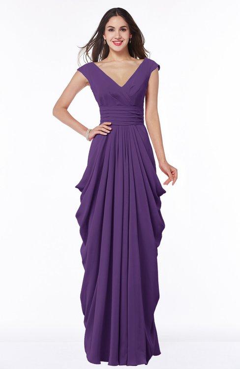 ColsBM Alice Pansy Mature V-neck Short Sleeve Chiffon Floor Length Plus Size Bridesmaid Dresses