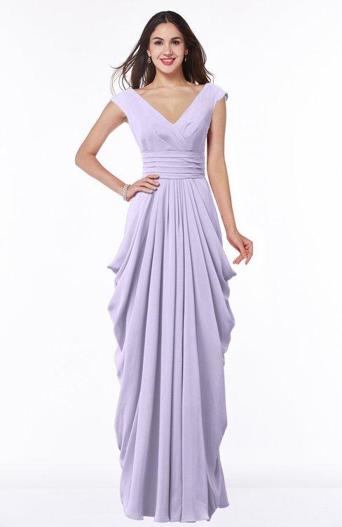 ColsBM Alice Pastel Lilac Mature V-neck Short Sleeve Chiffon Floor Length Plus Size Bridesmaid Dresses