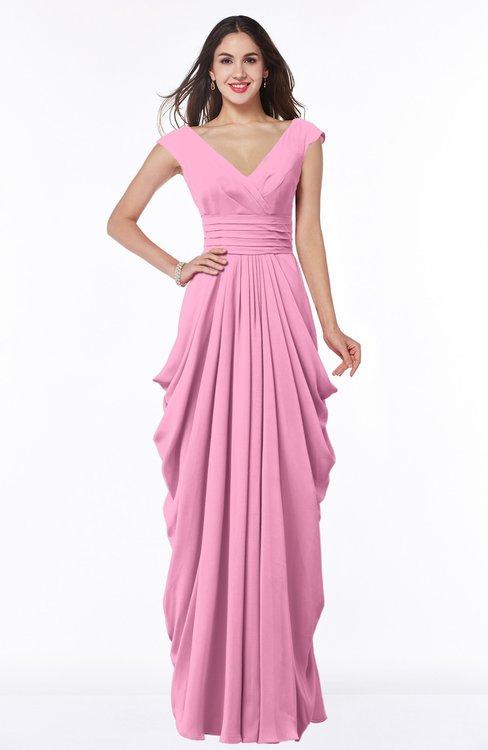 ColsBM Alice Pink Mature V-neck Short Sleeve Chiffon Floor Length Plus Size Bridesmaid Dresses
