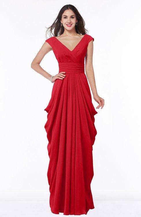 ColsBM Alice Red Mature V-neck Short Sleeve Chiffon Floor Length Plus Size Bridesmaid Dresses