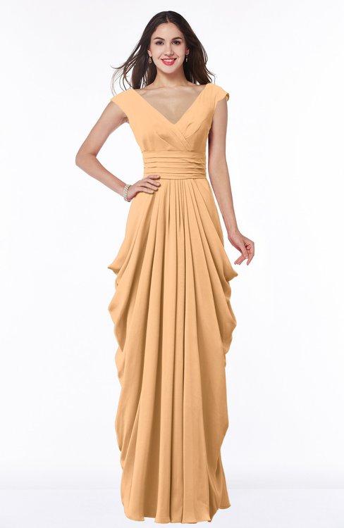 ColsBM Alice Salmon Buff Mature V-neck Short Sleeve Chiffon Floor Length Plus Size Bridesmaid Dresses