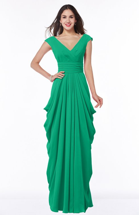 ColsBM Alice Sea Green Mature V-neck Short Sleeve Chiffon Floor Length Plus Size Bridesmaid Dresses