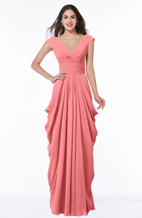 ColsBM Alice Shell Pink Mature V-neck Short Sleeve Chiffon Floor Length Plus Size Bridesmaid Dresses