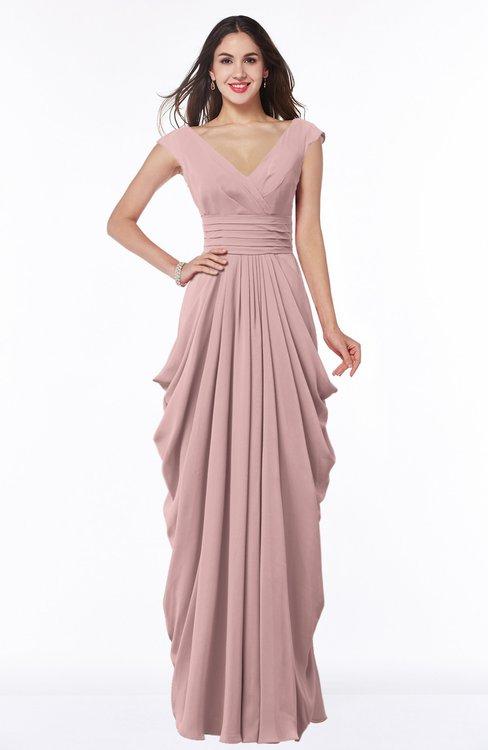 ColsBM Alice Silver Pink Mature V-neck Short Sleeve Chiffon Floor Length Plus Size Bridesmaid Dresses