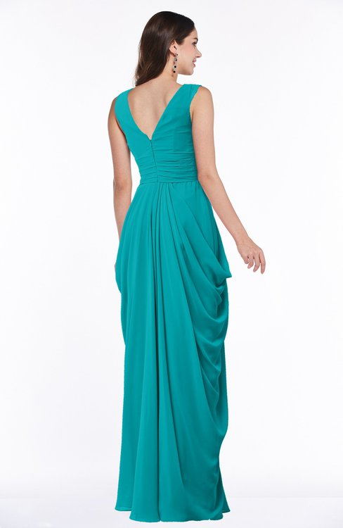 c3da7567fb4 ... ColsBM Alice Teal Mature V-neck Short Sleeve Chiffon Floor Length Plus  Size Bridesmaid Dresses