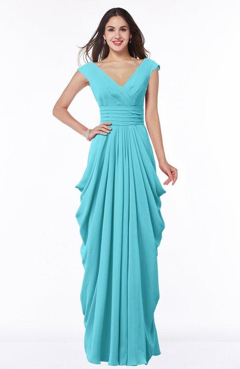 ColsBM Alice Turquoise Mature V-neck Short Sleeve Chiffon Floor Length Plus Size Bridesmaid Dresses