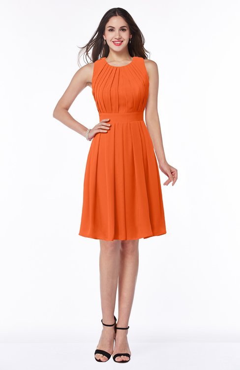 ColsBM Daphne Tangerine Elegant A-line Jewel Half Backless Chiffon Knee Length Prom Dresses