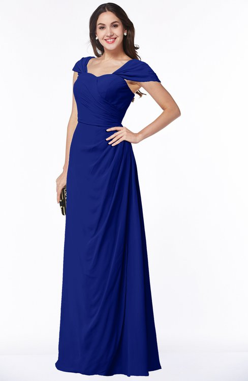 ColsBM Clare Electric Blue Modest Sweetheart Short Sleeve Floor Length Pleated Plus Size Bridesmaid Dresses