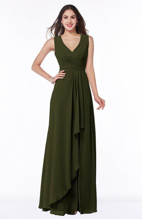 ColsBM Melody Beech Glamorous A-line Sleeveless Zipper Chiffon Floor Length Plus Size Bridesmaid Dresses