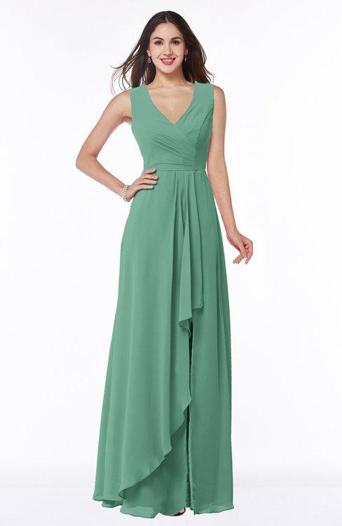 ColsBM Melody Beryl Green Glamorous A-line Sleeveless Zipper Chiffon Floor Length Plus Size Bridesmaid Dresses