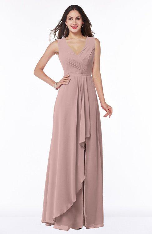 ColsBM Melody Blush Pink Glamorous A-line Sleeveless Zipper Chiffon Floor Length Plus Size Bridesmaid Dresses