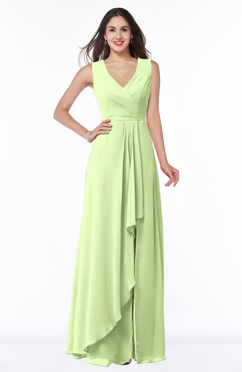ColsBM Melody Butterfly Glamorous A-line Sleeveless Zipper Chiffon Floor Length Plus Size Bridesmaid Dresses