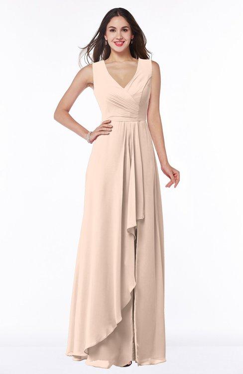 ColsBM Melody Fresh Salmon Glamorous A-line Sleeveless Zipper Chiffon Floor Length Plus Size Bridesmaid Dresses