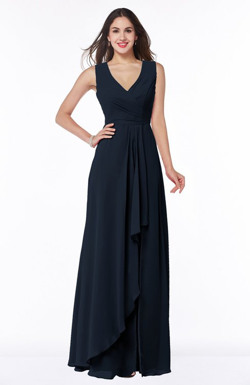 ColsBM Melody Navy Blue Glamorous A-line Sleeveless Zipper Chiffon Floor Length Plus Size Bridesmaid Dresses