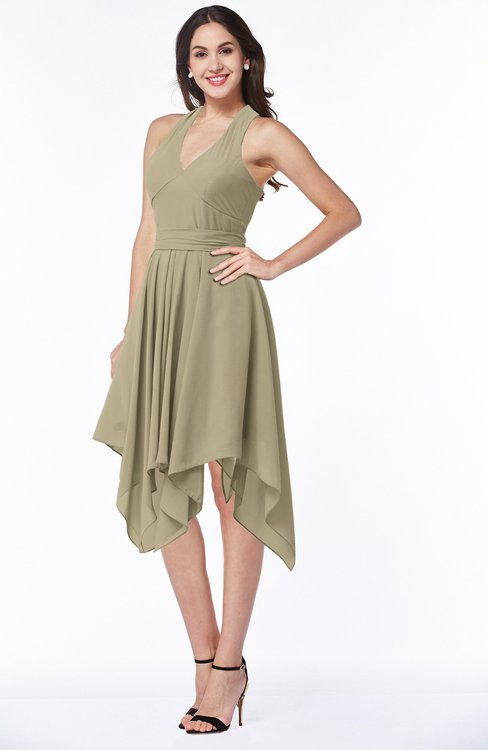 ColsBM Delaney Candied Ginger Cute A-line Sleeveless Zip up Chiffon Tea Length Plus Size Bridesmaid Dresses