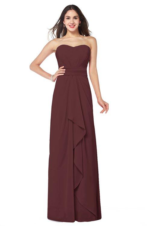 ColsBM Angelina Burgundy Cute A-line Sleeveless Zip up Chiffon Sash Plus Size Bridesmaid Dresses