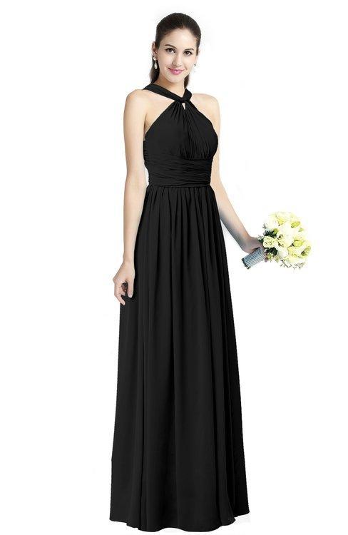 ColsBM Willa Black Simple Halter Criss-cross Straps Chiffon Floor Length Plus Size Bridesmaid Dresses