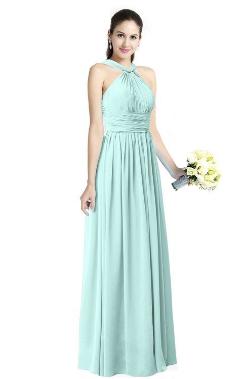 ColsBM Willa Blue Glass Simple Halter Criss-cross Straps Chiffon Floor Length Plus Size Bridesmaid Dresses