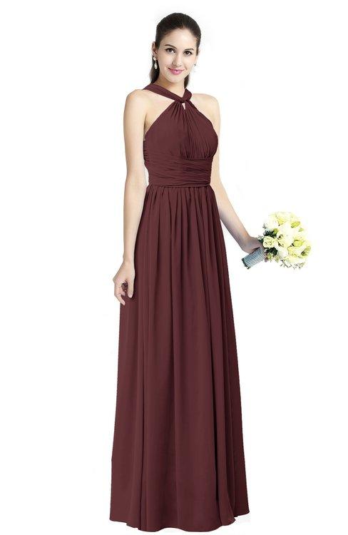 ColsBM Willa Burgundy Simple Halter Criss-cross Straps Chiffon Floor Length Plus Size Bridesmaid Dresses