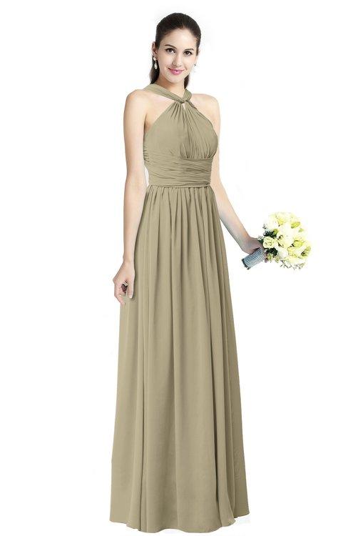 ColsBM Willa Candied Ginger Simple Halter Criss-cross Straps Chiffon Floor Length Plus Size Bridesmaid Dresses